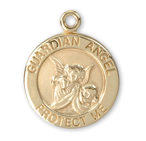 HMH Religious Round Guardian Angel 14kt Solid Gold Medal w/Jump Ring