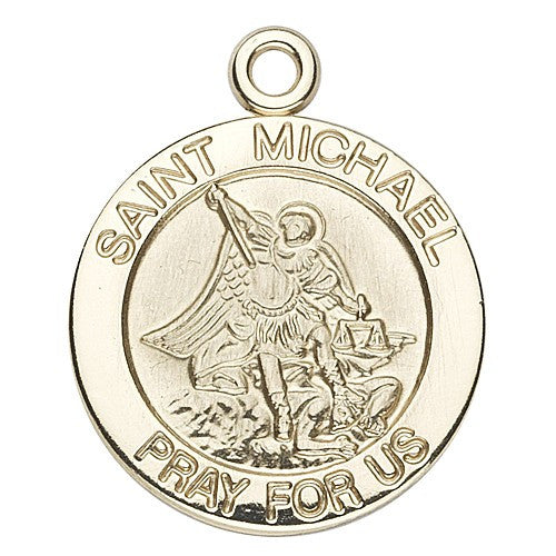 HMH Religious Round St Michael Archangel 14kt Solid Gold Medal w/Jump Ring