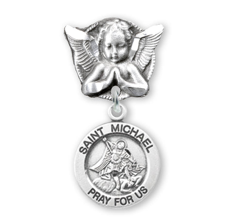 HMH Relgious Sterling Silver Baby Badge Praying Angel Pin w/Round St Michael Medal