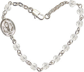 Girl's Crystal Checo Fire Polished Beads w/Pewter Communion Chalice Charm Bracelet by Bliss Mfg