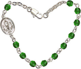 Girl's Emerald Checo Fire Polished Beads w/Pewter Communion Chalice Charm Bracelet by Bliss Mfg