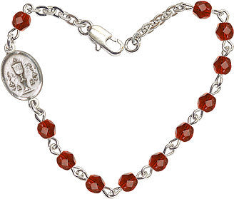 Girl's Ruby Checo Fire Polished Beads w/Pewter Communion Chalice Charm Bracelet by Bliss Mfg