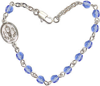 Girl's Sapphire Checo Fire Polished Beads w/Pewter Communion Chalice Charm Bracelet by Bliss Mfg
