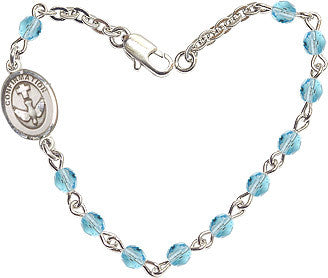 Girl's Aqua Checo Fire Polished Beads w/Pewter Communion Chalice Charm Bracelet by Bliss Mfg