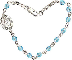 Aqua Checo Fire Polished Beads w/Pewter Miraculous Medal Charm Bracelet by Bliss Mfg