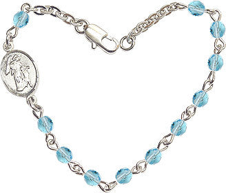 Aqua Checo Fire Polished Beads w/Pewter Guardian Angel Charm Bracelet by Bliss Mfg