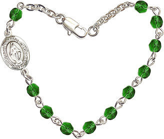 Emerald Checo Fire Polished Beads w/Pewter Miraculous Medal Charm Bracelet by Bliss Mfg