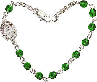 Emerald Checo Fire Polished Beads w/Pewter Sacred Heart Scapular Charm Bracelet by Bliss Mfg
