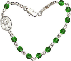 Emerald Checo Fire Polished Beads w/Pewter Guardian Angel Charm Bracelet by Bliss Mfg