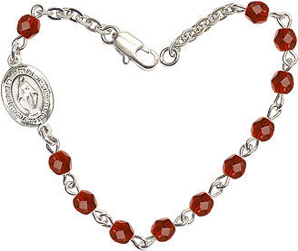 Ruby Checo Fire Polished Beads w/Pewter Miraculous Medal Charm Bracelet by Bliss Mfg