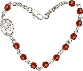 Ruby Checo Fire Polished Beads w/Pewter Guardian Angel Charm Bracelet by Bliss Mfg