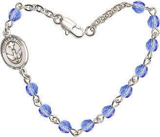 Sapphire Beads w/Pewter Holy Spirit Dove Confirmation Charm Bracelet by Bliss Mfg