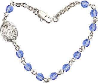 Sapphire Checo Fire Polished Beads w/Pewter Miraculous Medal Charm Bracelet by Bliss Mfg