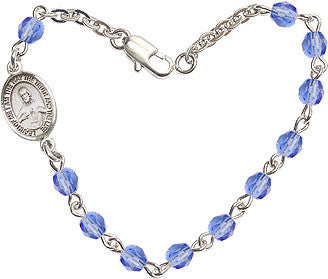 Sapphire Checo Fire Polished Beads w/Pewter Sacred Heart Scapular Charm Bracelet by Bliss Mfg