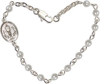 Girl's Faux 4mm Pearls w/Pewter Communion Chalice Charm Bracelet by Bliss Mfg