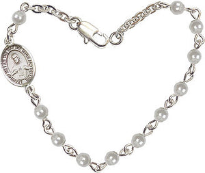 Faux 4mm Pearls w/Pewter Sacred Heart Scapular Charm Bracelet by Bliss Mfg