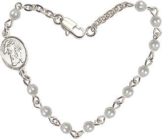 Faux 4mm Pearl Beads w/Pewter Guardian Angel Charm Bracelet by Bliss Mfg
