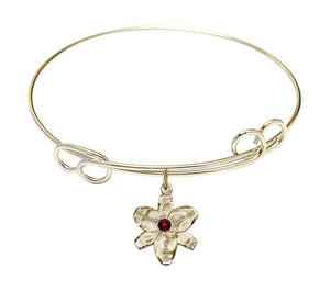 "Bliss Gold Birthstone Crystal Size 8"" Bangle Bracelet w/Chastity Flower"