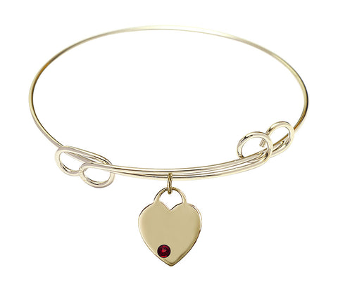 Bliss Gold Swarovski Crystal Heart Birthstone Bangle Bracelet