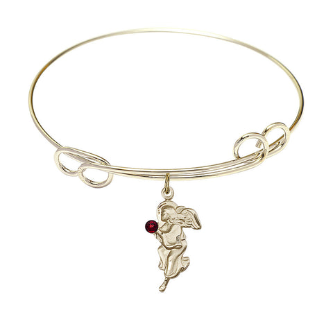 Bliss Gold Angel Swarovski Crystal Birthstone Bangle Bracelet
