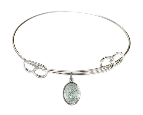 Bliss Blue St Christopher Patron Saint Loop Charm Bangle Bracelet