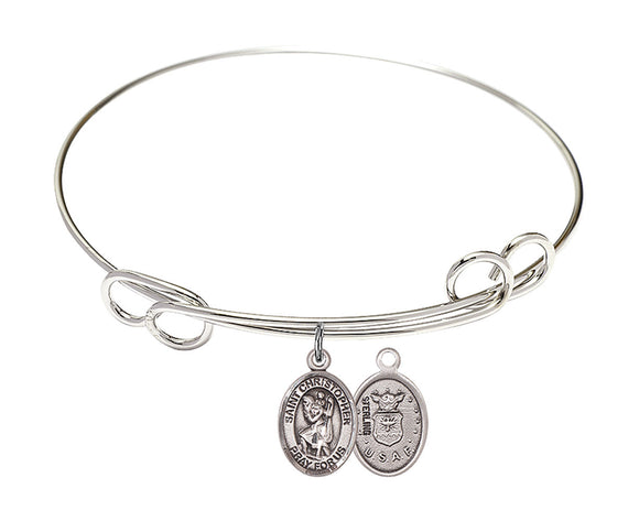 Bliss Air Force St Christopher Patron Saint Loop Charm Bangle Bracelet