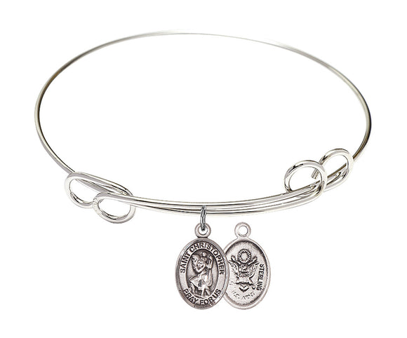 Bliss Army St Christopher Patron Saint Loop Charm Bangle Bracelet