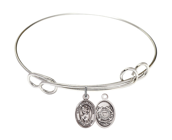 Bliss Coast Guard St Christopher Patron Saint Loop Charm Bangle Bracelet