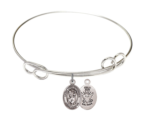 Bliss Navy St Christopher Patron Saint Loop Charm Bangle Bracelet