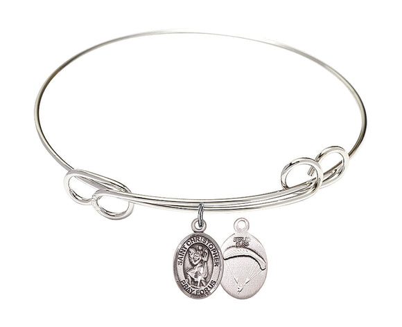 Bliss Paratrooper St Christopher Patron Saint Loop Charm Bangle Bracelet