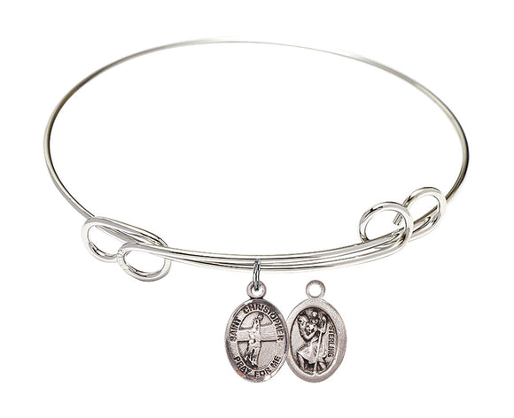 Bliss St Christopher Volleyball Patron Saint Loop Charm Bangle Bracelet