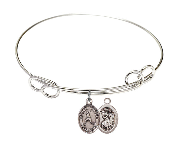 Bliss St Christopher Baseball Patron Saint Loop Charm Bangle Bracelet