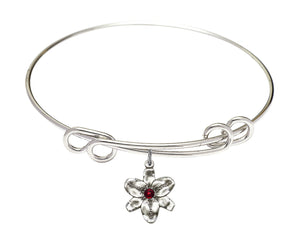 "Bliss Silver Birthstone Crystal Size 8.5"" Bangle Bracelet w/Chastity Flower"