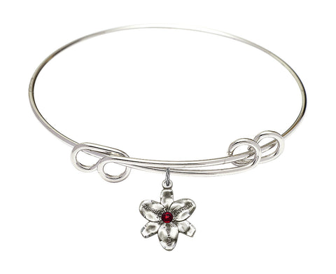 "Bliss Silver Birthstone Crystal Size 7.5"" Bangle Bracelet w/Chastity Flower"