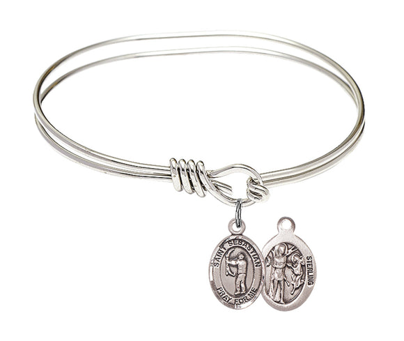 Bliss St Sebastian Archery Patron Saint Round Eye Hook Charm Bangle Bracelet