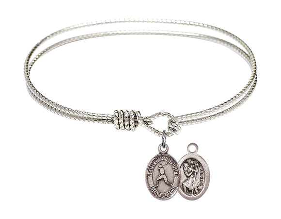 Bliss St Christopher Baseball Patron Saint Twist Round Eye Hook Charm Bangle Bracelet
