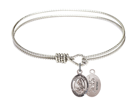 Bliss St Rita Baseball Patron Saint Twist Round Eye Hook Charm Bangle Bracelet