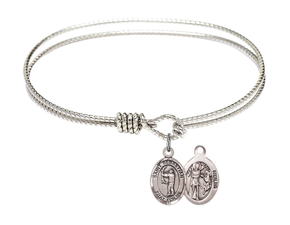 Bliss St Sebastian Archery Patron Saint Twist Round Eye Hook Charm Bangle Bracelet