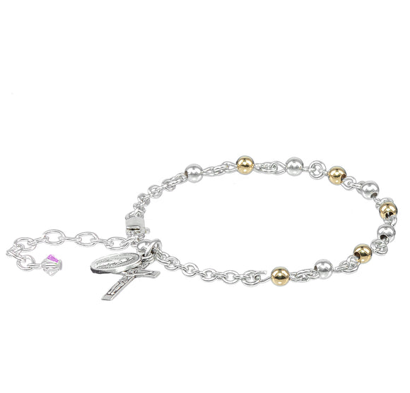 HMH Religious Sterling Silver and Gold Round Rosary Prayer Bracelet