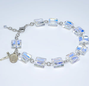 HMH Religious Swarovski Crystal 10mm Square Faceted Cube Prayer Rosary Bracelet