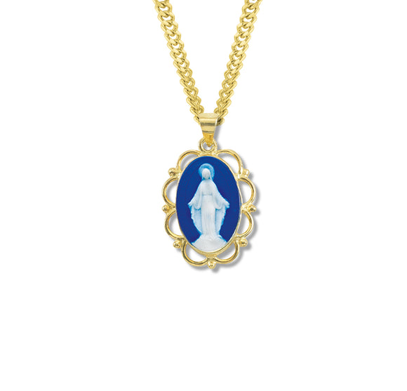 HMH Religious Dark Blue Miraculous Medal Cameo Gold Over Sterling Silver Necklace