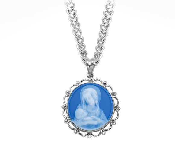 HMH Religious Blue Madonna and Child Cameo Sterling Silver Necklace