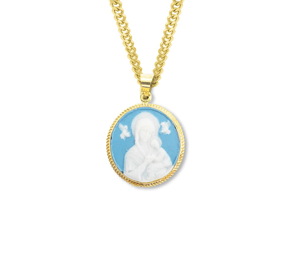 HMH Religious Light Blue Our Lady of Perpetual Help Cameo Gold Over Sterling Silver Necklace