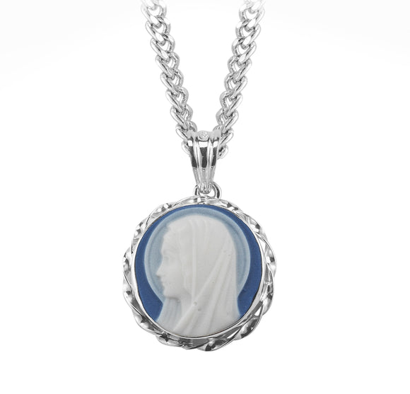HMH Religious Blue Madonna Profile Cameo Sterling Silver Necklace