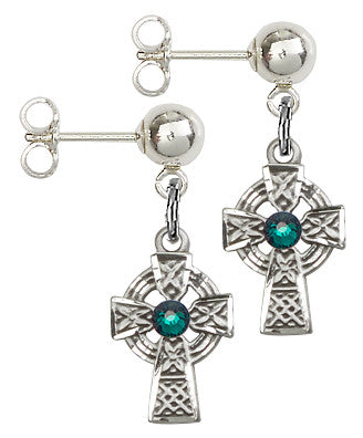 Bliss Mfg Sterling Silver Celtic Cross Ball Post Earrings w/Swarovski 3mm Emerald Crystal