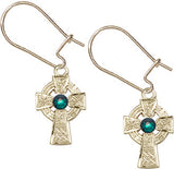 Bliss Mfg Sterling Silver Celtic Cross Dangle Earrings w/Swarovski 3mm Emerald Crystal