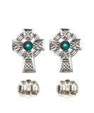 Bliss Mfg Sterling Silver Celtic Cross Post Earrings w/Swarovski 3mm Emerald Crystal