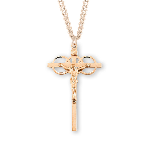 HMH Religious Wedding Three Ring Gold Over Sterling Silver Crucifix Pendant Necklace
