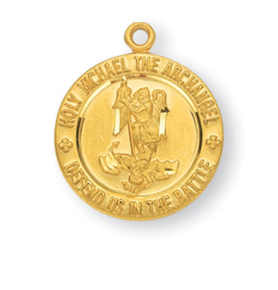 HMH Religious St Michael Defend us in Battle Sterling w/Gold Overlay Medal Necklace