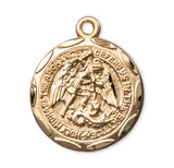 HMH Religious Saint Michael Sterling Silver over Gold Saint Medal Necklace w/Chain